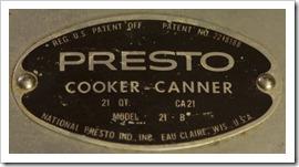 Presto 21-B Canner Label